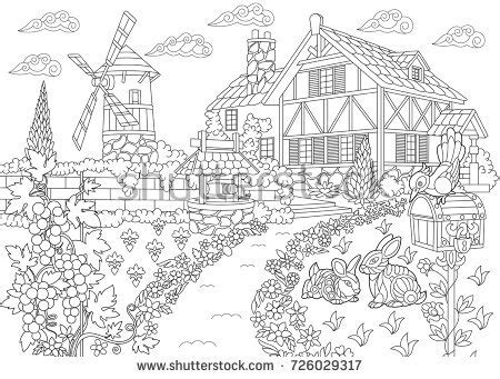 country landscape coloring page coloring page rural landscape farm house stock vector