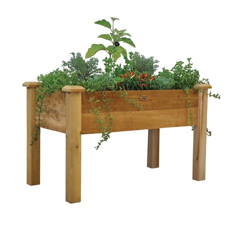 Wood Planter Boxes Lowes by Shop Gronomics 48 In X 30 In Rustic Cedar Cedar Rustic
