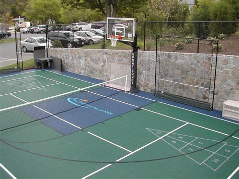 backyard tennis game multisport court backyardcourt backyard basketball