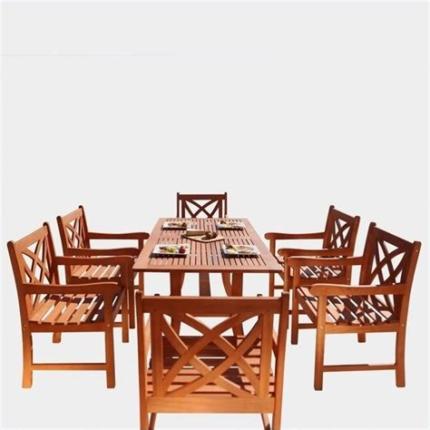 7 Piece Wood Patio Dining Set V189set2 Wooden Patio Dining Set