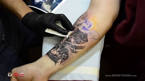 tattoo equipment nj archangel saint michael tattoo black and gray by tonho