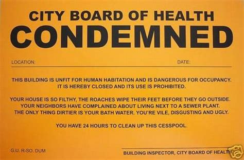 humiliating prank sign board of health condemned ebay