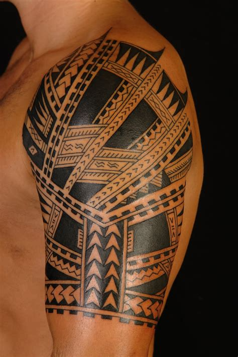 tribal quarter sleeve tattoo shane tattoos polynesian half sleeve