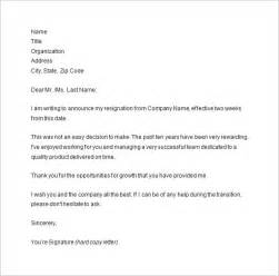 Two Weeks Template by Two Weeks Notice Letter 7 Free Sle Exle Format