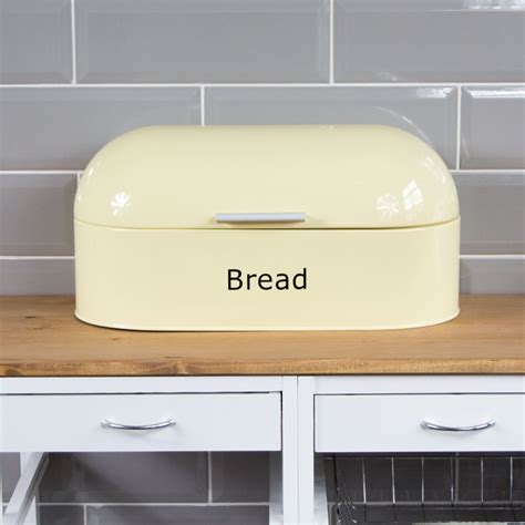 retro bread bin steel kitchen food storage roll loaf box