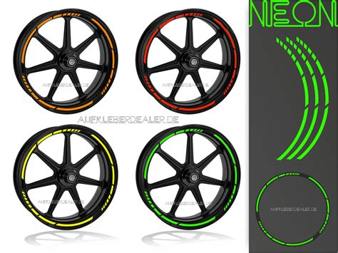 Felgenaufkleber Motorrad Selbst Gestalten felgenaufkleber wheel stripes neon farben