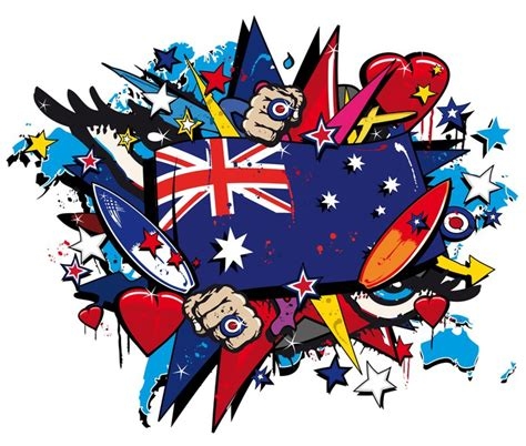 pop arty australia fototapete graffiti australien flagge pop illustration