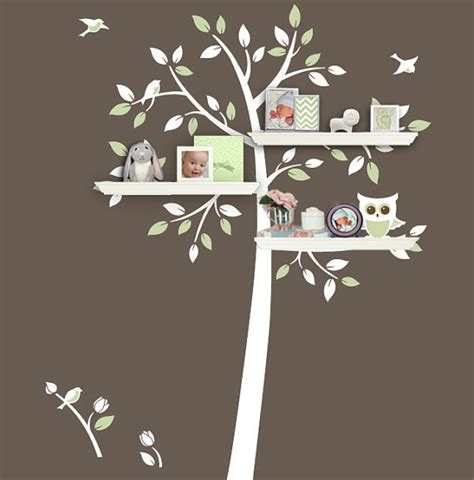 owl tree wall sticker shelving tree owl bird flower home vinyl wall decal