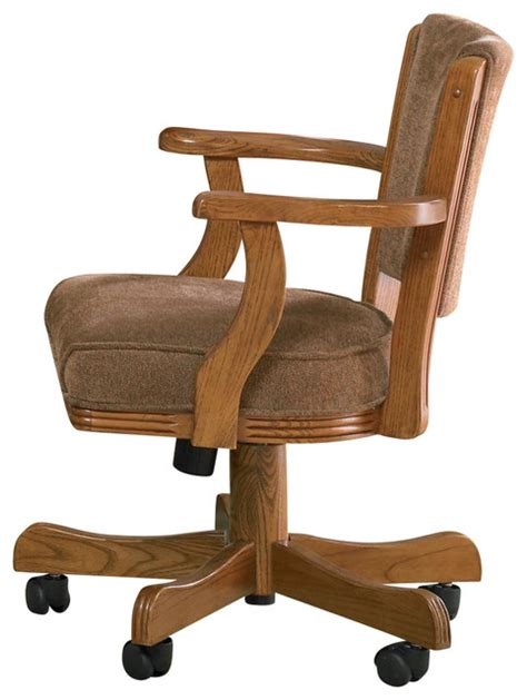 armchair with casters casual oak mitchell upholstered arm game chair with