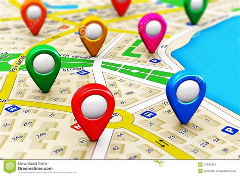 Finding Locations by Gps Navigation Concept Stock Illustration Image Of