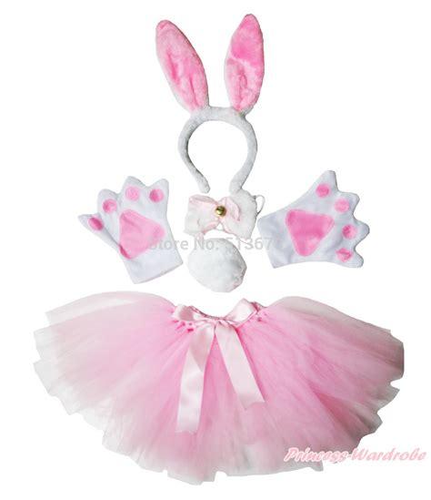 Masker Fashion Pink Rabbit easter pink bunny headband paw bow gauze skirt costume in clothing