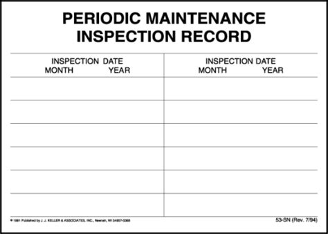 periodic maintenance inspection record label 53 sn