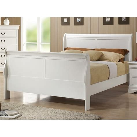 white sleigh bed queen coaster louis philippe queen sleigh bed in white 204691q