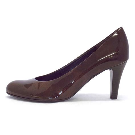 Court Shoes by Gabor Shoes Lavender Court Shoe In Brown Patent Mozimo