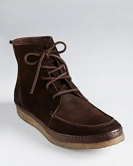 varvatos usa henley laceup suede boots in brown