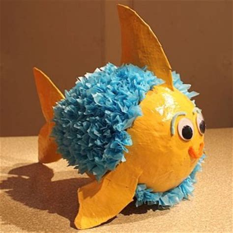 Paper Mache Crafts Ideas - paper mache pinata fish family crafts