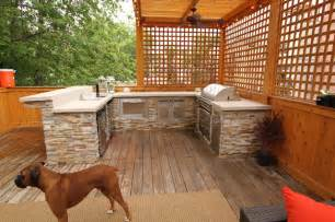 outdoor kitchen and deck contemporary exterior