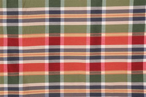 American Upholstery Fabric by American Silk Crescent Plaid Upholstery Fabric In Multi