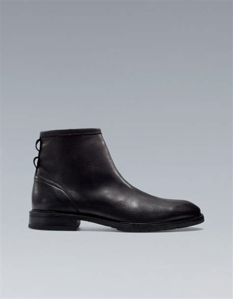zara leather ankle boots in black for lyst