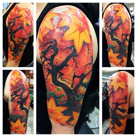autumn tattoos realistic autumn maple by popo at lou s st