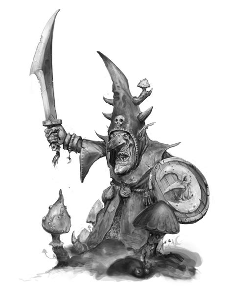 Made a Moonclan Grot in grayscale. : ageofsigmar