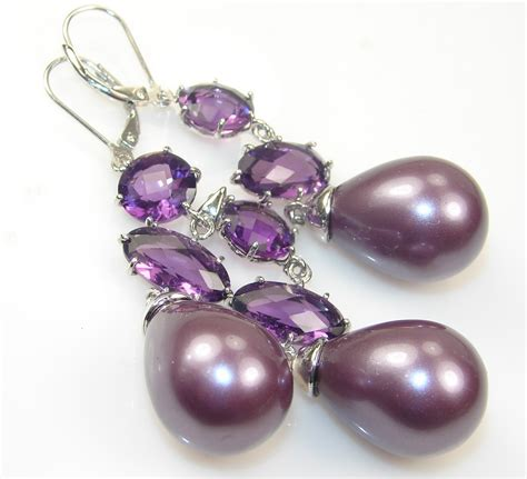 Set Et43 Purple Inner Necklace awesome blister pearl sterling silver earrings set accessorygate