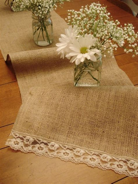 Pretty Table Decorations Sew Lace To Burlap To Make Rustic Yet Pretty Table Decorations Wedding Day Pins You Re 1