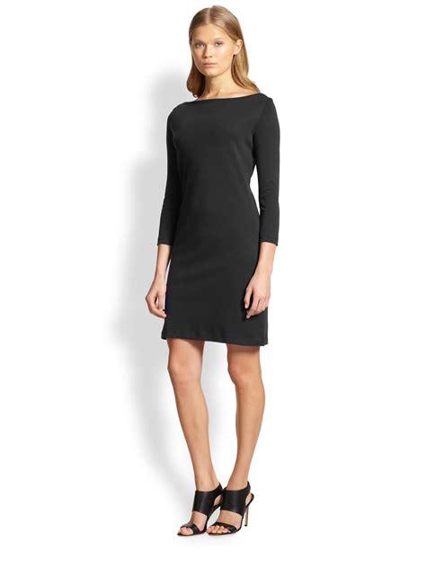 theory boatneck jersey dress in black lyst - Boat Neck Jersey Dress