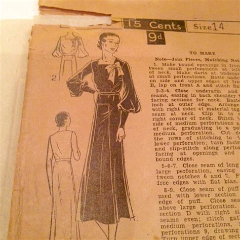 dress pattern exle vintage 1930s excella dress pattern factory folds 32