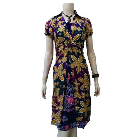 Dress Bunga Biru Kerut dress batik bunga unggu trandmarket