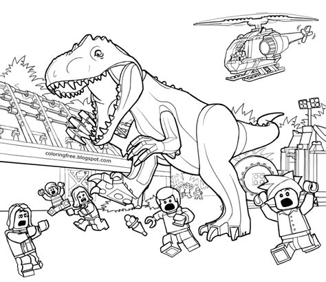dinosaur jungle coloring page paleontology prehistoric landscape jurassic world lego