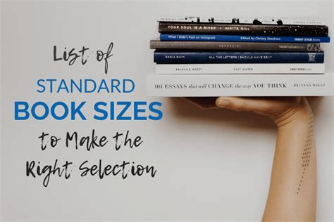 List Of Book Sizes (Standard sizes for all different self
