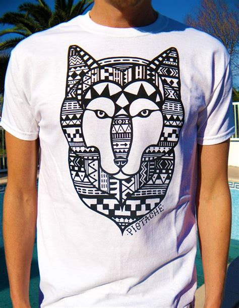 aztec wolf t shirt white top mens boys screen printed clothing folk fabric mexican