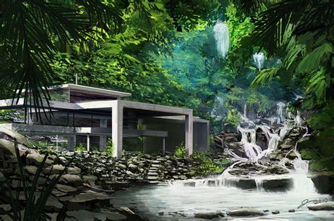 waterfall house digital paintings scenery landscapescoolvibe digital art