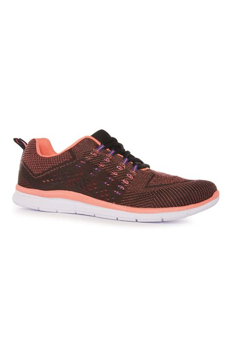 neon pink woven runner trainers for primark