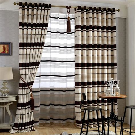 brown striped curtains thick chenille brown beige room darkening striped curtains