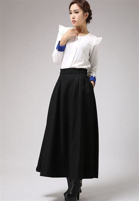 black skirtmaxi skirt wool skirtwinter skirt pleated