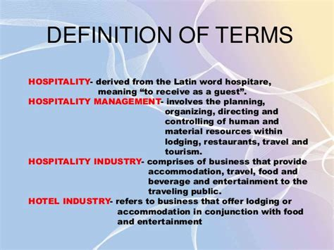 Mba Hospitality Management Meaning by Introduction To Hospitality Industry