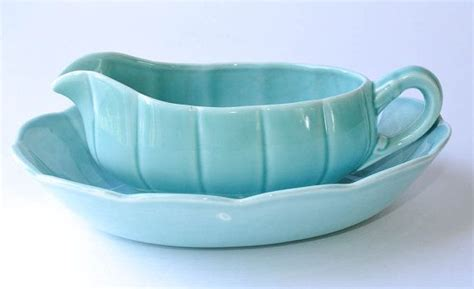 gravy boat made in usa turquoise gravy boat and bowl ws george petalware pottery