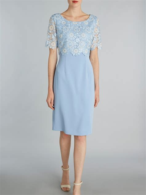 boat dress gina bacconi crepe dress and attached organza overtop blue