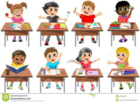 Kid At Desk Happy Children Kid Desk School Classroom Isolated Stock Vector Image 41539188