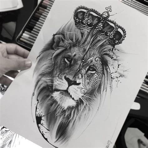 lion with a crown tattoo put on reconsider half detail richard