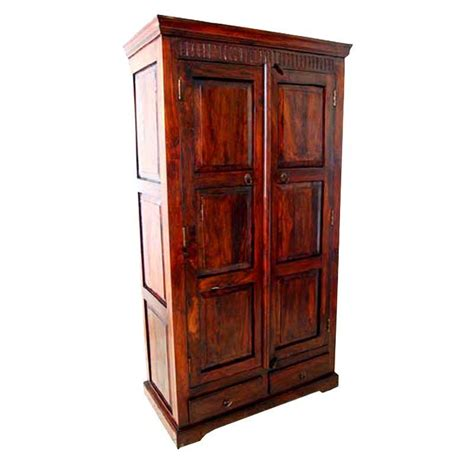 Solid Wood Wardrobe Armoire by Rustic Solid Wood Armoire Cabinet With 2 Storage Drawers
