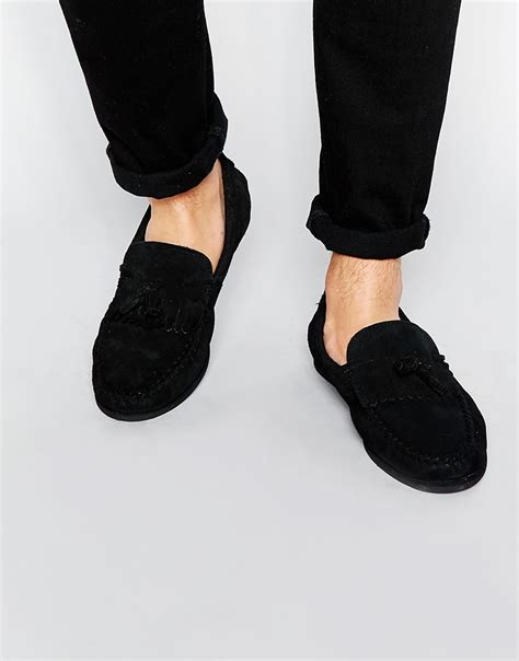loafers in black asos tassel loafers in black suede in black for lyst