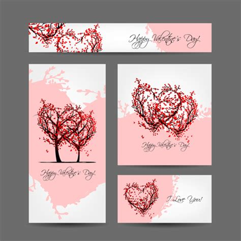 creative valentines creative hearts valentines day cards 05 vector card