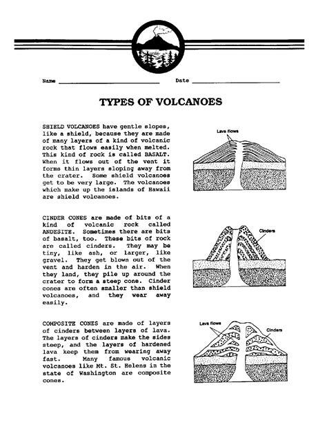 types of sheets 16 best images of volcano parts worksheet kb teacher s