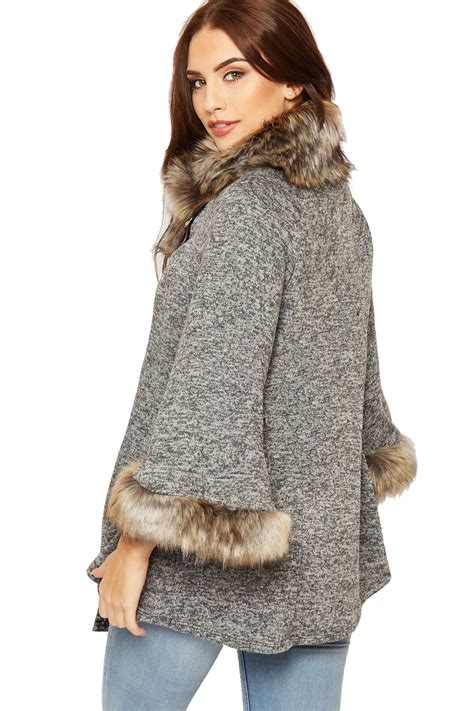 X91 Nzm 650 Knit Cape womens faux fur hooded cape knitted poncho cloak
