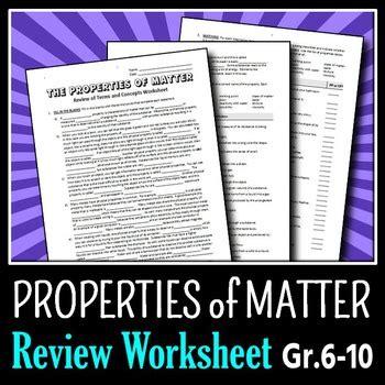 properties of matter review worksheet properties of matter review worksheet editable by tangstar science