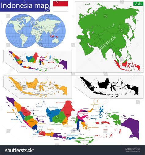 map republic indonesia provinces colored bright stock