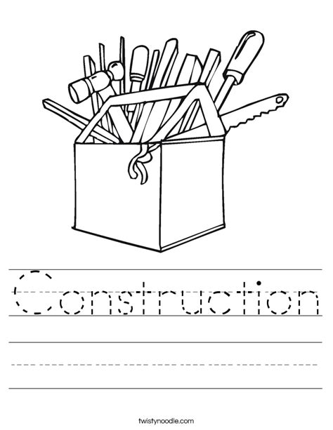 Constructions Worksheet by Construction Worksheet Twisty Noodle